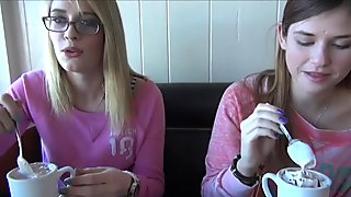 POV date with Allie James eating a creampie after a threeway virtual date