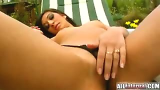 A hot brunette gets her tight pussy fucked to the maximum.