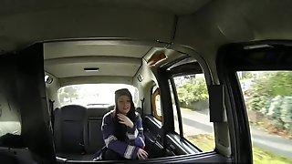 Deepthroating passenger creampied in taxi