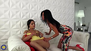 Mother and daughter perfect skinny lesbian couple