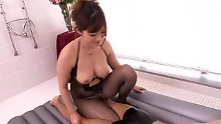 Busty milf creampied after oily bodymassage
