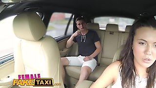 FemaleFakeTaxi Cheating hubby eats pussy in cab