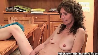 Saggy granny with hairy pussy finger fucks