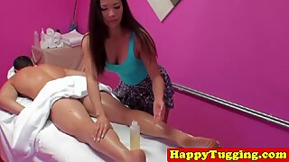 Busty asian spycam masseuse jerking