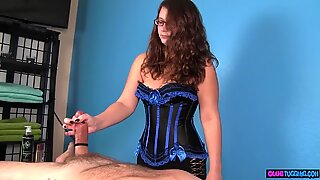 Busty masseuse stroking cock during CFNM