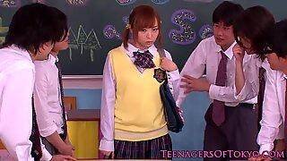 Japanese bukkake teen in class jerking cocks