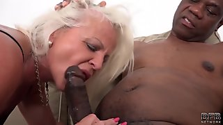 Blonde chick licking a black studs nipples and fucking hardcore