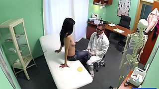 Petite patient squirts hard and creampie