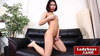 Gaping ladyboy masturbates her thick dick