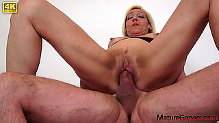 Horny mature woman gets fucked and gaped by filthy man