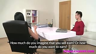 FemaleAgent Sexy agent receives a huge creampie