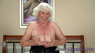 Dirty old lady gets cock in her mouth