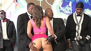 Jamie Jackson Having Fun With A Bunch Of Black Cocks