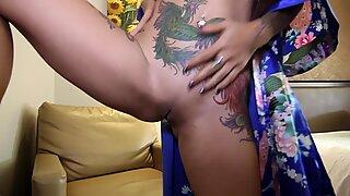 Tattooed Asian Girl In Kimono Nuru Footjob and Anal Fuck