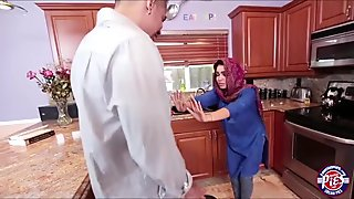 Sexy middle Eastern housekeeper with massive tits gets creampied