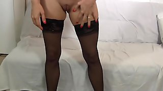 I wear stockings while sucking and fucking the creampie out of you
