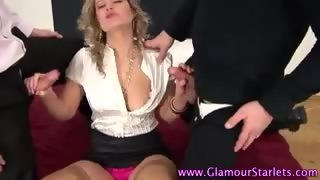 Clothed whore creampied